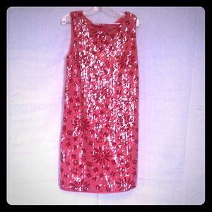 Nicole Miller Red/pinksequin dress cute & comfy